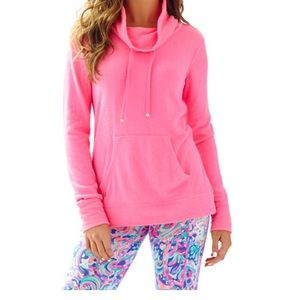 Lilly Pulitzer Hillary Pink Cowl Neck Pullover  XL